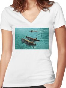 Giant Pigs Swimming In The Azure Waters Of The Exumas, Bahamas, Caribbean Women's Fitted V-Neck T-Shirt