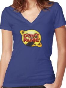 Don't Panic Women's Fitted V-Neck T-Shirt