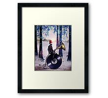 Music man in the forest Framed Print
