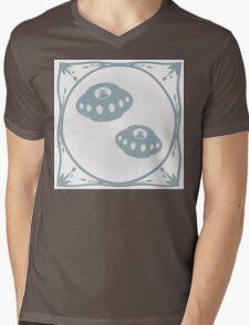 Delft blue tile effect Aliens Mens V-Neck T-Shirt