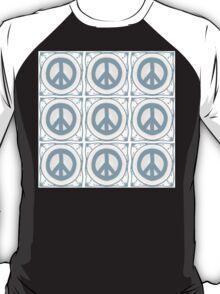 Delft blue tile effect Peace symbol T-Shirt