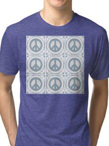 Delft blue tile effect Peace symbol Tri-blend T-Shirt