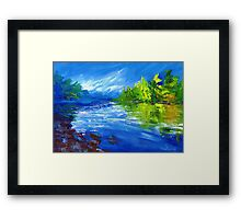 Blue River Painting Oil Art by Ekaterina Chernova Framed Print