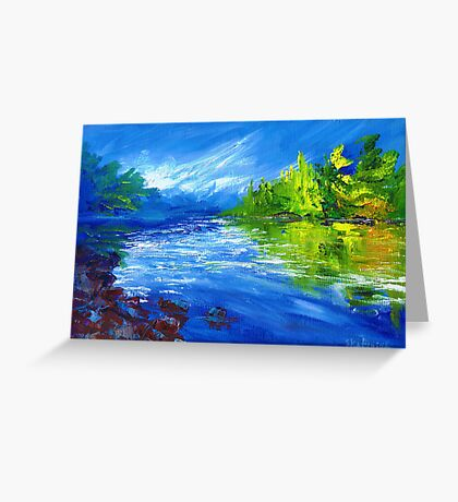 Blue River Painting Oil Art by Ekaterina Chernova Greeting Card
