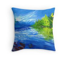 Blue River Painting Oil Art by Ekaterina Chernova Throw Pillow