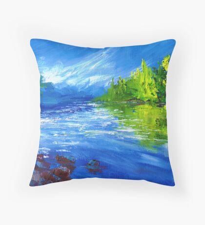 Blue River Painting Oil Art by Ekaterina Chernova Throw Pillow