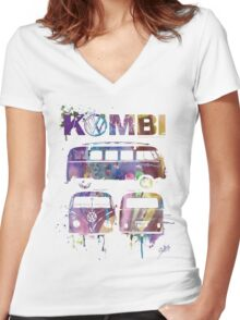 Volkswagen Kombi 3 Way (faded) © Women's Fitted V-Neck T-Shirt