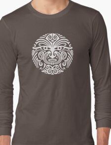 Maori tattoo face - white Long Sleeve T-Shirt