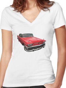Red Buick Century Women's Fitted V-Neck T-Shirt