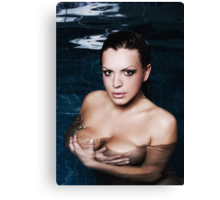 Portrait of sexy woman in water Canvas Print