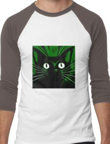 Green Comic Feline Cat Men's Baseball ¾ T-Shirt