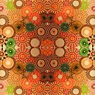 Mirrored Autumn Coloured Spirograph Artwork by RachelEDesigns