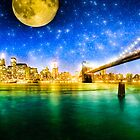 Moon Over Manhattan - New York City Fantasy by Mark Tisdale