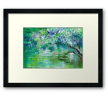Green River Oil Painting Hand Painted Art Wall Decor by Artist Ekaterina Chernova Framed Print