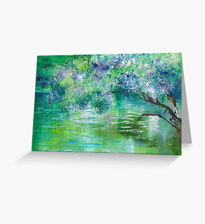 Green River Oil Painting Hand Painted Art Wall Decor by Artist Ekaterina Chernova Greeting Card