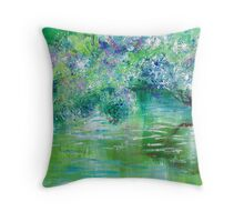 Green River Oil Painting Hand Painted Art Wall Decor by Artist Ekaterina Chernova Throw Pillow
