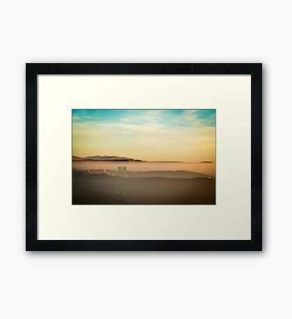 foggy sunset in the bay of Trieste Framed Print