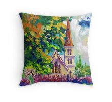 White Church Painting Wall Art by Ekaterina Chernova Throw Pillow