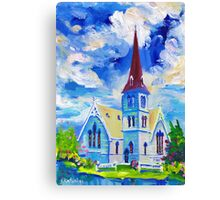 White Church Blue Sky Oil Painting Wall Art by Ekaterina Chernova Canvas Print
