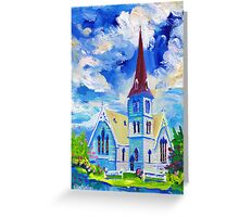 White Church Blue Sky Oil Painting Wall Art by Ekaterina Chernova Greeting Card