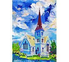 White Church Blue Sky Oil Painting Wall Art by Ekaterina Chernova Photographic Print
