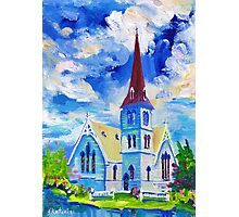 White Church Blue Sky Oil Painting Wall Art by Ekaterina Chernova Photographic Print