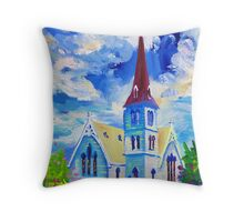 White Church Blue Sky Oil Painting Wall Art by Ekaterina Chernova Throw Pillow