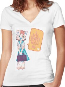 Puppy love Women's Fitted V-Neck T-Shirt