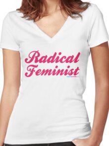 Radical Feminist Women's Fitted V-Neck T-Shirt