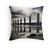 Groyne Reflection, Felpham Beach, West Sussex Throw Pillow