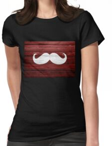 Funny Mustache Vintage Wood Womens Fitted T-Shirt