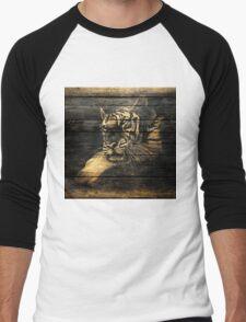 Tiger Face on Wooden Men's Baseball ¾ T-Shirt