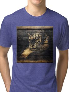 Tiger Face on Wooden Tri-blend T-Shirt