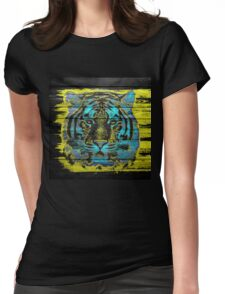 Tiger Face on Wooden Womens Fitted T-Shirt
