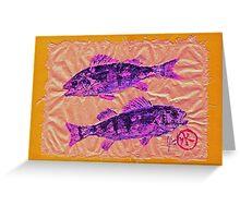 Gyotaku - Yellow Perch - Pink Fish Greeting Card