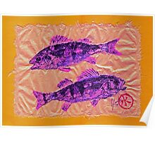 Gyotaku - Yellow Perch - Pink Fish Poster