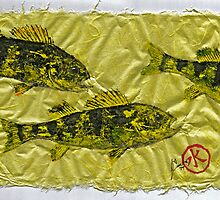 Gyotaku - Yellow Perch - Walleye by IslandFishPrint