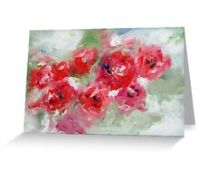 Semi abstract roses on green  Greeting Card