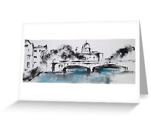 Galway city monochrome Greeting Card