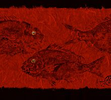 Gyotaku Scup Series 3  Red Unryu Paper by IslandFishPrint