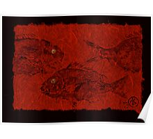 Gyotaku Scup Series 3  Red Unryu Paper Poster