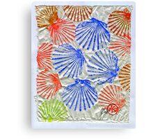 Gyotaku Scallops - Summertime Fun - Shellfish Canvas Print