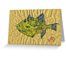Gyotaku - Triggerfish - Queen Triggerfish Greeting Card