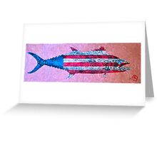 Gyotaku - American Spanish Mackerel - Flag Greeting Card