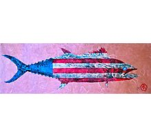Gyotaku - American Spanish Mackerel - Flag Photographic Print