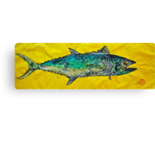 Gyotaku -Spanish Mackerel - Bright Yellow Canvas Print