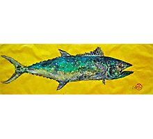 Gyotaku -Spanish Mackerel - Bright Yellow Photographic Print