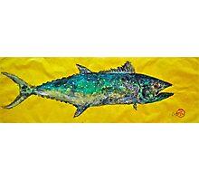 Gyotaku -Spanish Mackerel - Bright Yellow Photographic Print