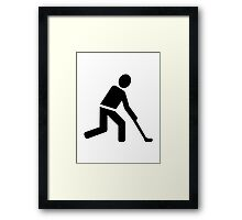 Field hockey player symbol Framed Print