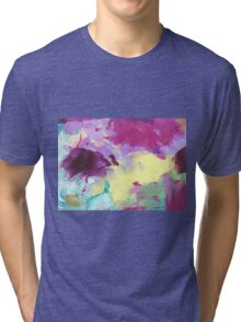 Abstract Painting in violett and yellow 10/18 Tri-blend T-Shirt